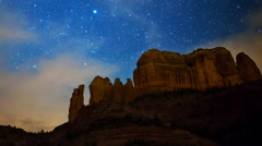 Astro Time Lapse of Stars over Cathedral Rock in Sedona, Arizona -Zoom Out- Stock Footage