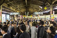 Rush Hour on Tokyo Metro Stock Photos