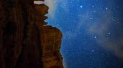 Astro Time Lapse of Stars over Cathedral Rock in Sedona, Arizona -Pan/Vertical- Stock Footage