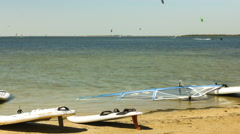 Time lapse of windsurfing and kitesurfing Stock Footage