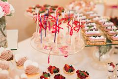 Buffet with a variety of delicious sweets, food ideas, celebration Stock Photos