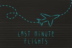 Travel industry: airplane and last minute flight booking Stock Illustration