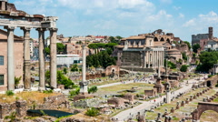 Aerial view of Roman forum in Rome - stock footage