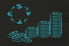 Stack of coins and currency symbols, exchange rates Stock Illustration