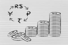 Stack of coins and BRICS currency symbols, exchange rates Stock Illustration