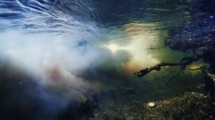 Underwater shot polluted drain water Stock Footage