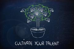 cutlivate your potential, your talent, your ideas - stock illustration