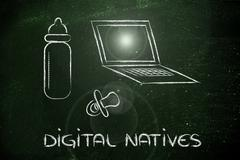 conceptual design of the digital native, the generations born in the internet - stock illustration