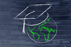e-learning, global online courses and graduation cap - stock illustration
