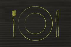 fork and knife, restaurant themed design: menu of the day - stock illustration