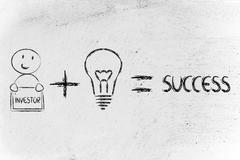 formula for success: investor plus ideas equals profits - stock illustration