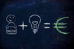 Formula for success: investor plus ideas equals profits (euro) Stock Illustration