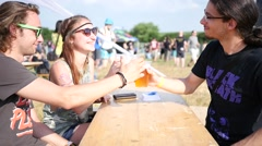 Young people guys group people drinking beer having fun outdoors Stock Footage
