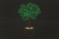 Gearwheel tree, surreal interpretation of green economy Stock Illustration
