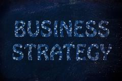 Business strategy writing with glowing gearwheels pattern Stock Illustration