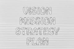 vision, mission, strategy, plan writing with glowing gearwheels pattern - stock illustration