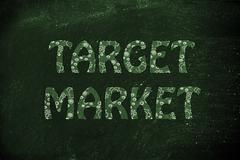 Target Market writing with glowing gearwheels pattern Stock Illustration
