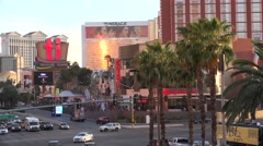 Traffic at Las Vegas Strip. Treasure Island side from Fashion Mall,  Timelapse. Stock Footage
