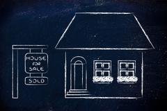 real estate market, funny house sold - stock illustration