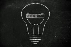 funny lightbulb with progress bar inside, innovation and new ideas loading - stock illustration