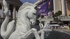 Hippocamps fountain at Caesars Palace. Las Vegas, Nevada, USA Stock Footage