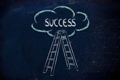 Funny ladder of success design with motivational writing Stock Illustration