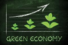 metaphor of green economy, performance graph with leaves growth - stock illustration