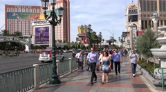 Tourists having fun on Las Vegas Strip near St. Mark's Square. Las Vegas Stock Footage