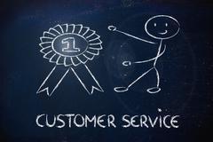 number one customer service - stock illustration