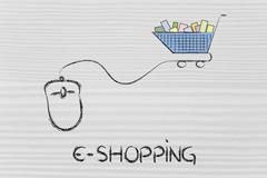 online business: computer mouse and shopping cart - stock illustration