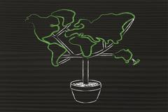 Green economy: symbol of tree with contintents as leaves Stock Illustration