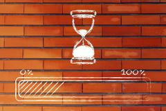 Please wait hourglass illustration with progress bar Stock Illustration