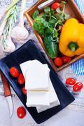 ingredients for greek salad - stock photo