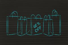 Shopping bags with sales percentage off Stock Illustration