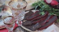 Meats on the holiday table. Hitting the camera in motion Stock Footage