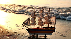 Old ship by the beach Stock Footage