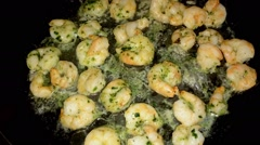 Delicious prawns in a pan Stock Footage