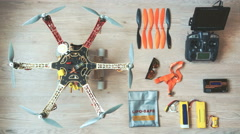 Custom drone (hexacopter) testing and run on the wooden floor Stock Footage