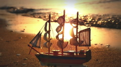 Old ship by the beach - stock footage