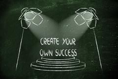 spotlights on success, accomplish your dreams - stock illustration