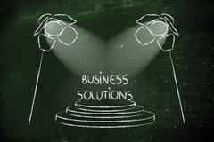 spotlights on success, winning business solution - stock illustration