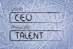 user CEO, password Talent - stock illustration