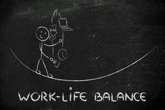 work life balance & managing responsibilities: working father juggling - stock illustration