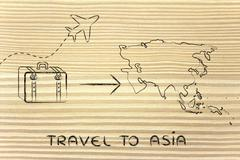 travel industry: airplane and luggage going to Asia - stock illustration