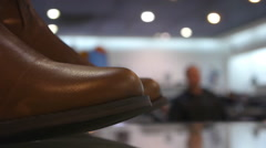 Leather Shoes In A Shoe Shop Closeup Stock Footage