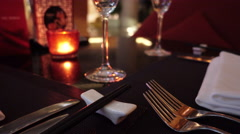 Place setting at upscale Chinese restaurant. Stock Footage