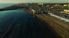 The pier in Ostia at the mouth of the Tevere River in Rome N. Aerial Stock Footage