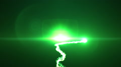 Intro with green glowing smoke streak and lens flares on a dark background - stock footage