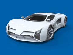 Conceptual high-speed white sports car. Blue uniform background. Glare and - stock illustration