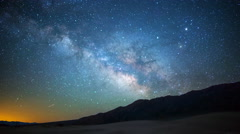 Astro Time Lapse of Milky Way over Sand Dunes in Death Valley -Tilt Down- Stock Footage